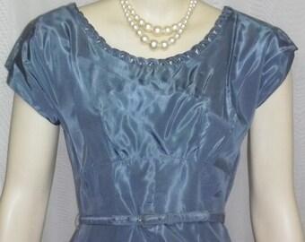Vintage 1940's Leslie Fay Blue Taffeta Full Circle Prom Party Dress Bolero Medium