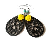 Black Wooden Flourish Filigree and Yellow Rose Earrings with Turquoise Stones