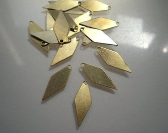 18 small flat brass diamond drops/stamping blanks