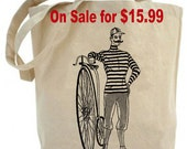 Canvas Tote bag ...Mustache Man riding old vintage bicycle  - eco friendly totes