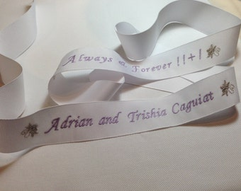 Custom Embroidered Wedding Gown Ribbon - White Gross Grain Ribbon with Lavender and Metallic Silver Thread
