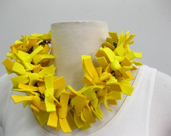 RUBBER strips on a link chain.  All yellow, all black or all black and white.