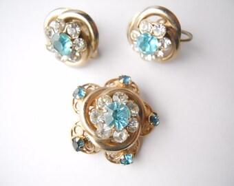 WEDDING ETERNAL CIRCLES rhinestone embedded brooch and screw back earrings, demi-parue set