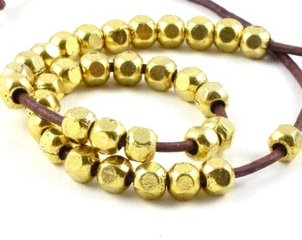 50 gold metal faceted tribal style BEADS with large 2.9mm HOLE . 6mm x 6mm x 6mm
