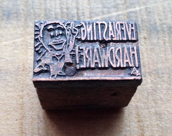 Antique Copper on wood Printers Block - Everlasting Hardware