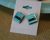 Fused Dichroic Glass Earrings-San Jose Sharks Hockey Blue and Black Post Earrings