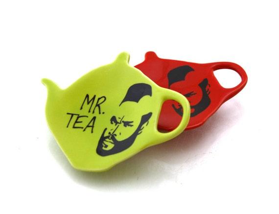 SALE Mr T tea Teapot Teabag holder in red only