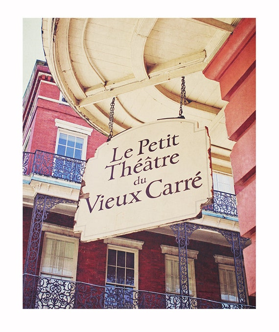 New Orleans Photography, Vieux Carre Theatre, sign photograph, colorful, bold architecture photograph, French Quarter decor, Rustic Autumn