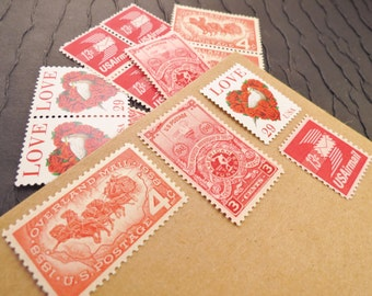 Express LOVE .. Red .. Vintage UNused Postage Stamps .. to post 5 letters