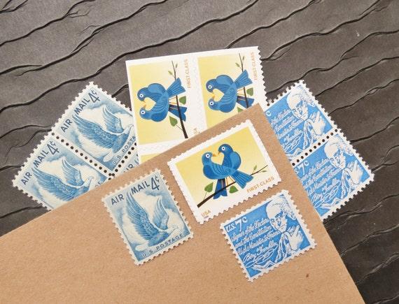 True Blue LOVE .. UNused Vintage Postage Stamps  .. post 5 letters