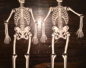 Vintage H.E.Luhrs Halloween jointed skeletons wall hanging pair