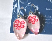 Moving Sale - Run Bunny Run Through Pink Teardrop Earrings. Japanese Chiyogami Dangles. Asian Paper and Handmade Glass Tiles.