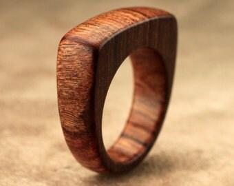 Size 7.75 - Flat Top Tamboti Wood Ring No. 135
