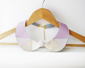 Peter Pan Collar Necklace Detachable Collar Geometric Leather Jewelry Lavender Wedding