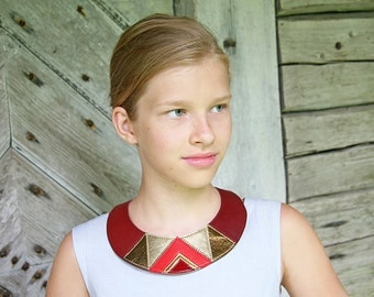 Leather Bib Necklace Cherry Red Gold Geometric Shapes Europeanstreetteam