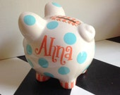 Summer Dots Piggy Bank Size Small Personalized Hand Painted Girl's or Boy's Piggy Bank