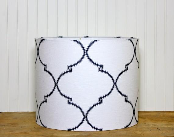 drum lamp shade lampshaes navy souk trellis caitlin by. Black Bedroom Furniture Sets. Home Design Ideas