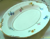 COTTAGE CHARM - Beautiful VIntage Oval Porcelain Tray - Dresser Tray - Trinket Dish - Relish Dish -  1950 Era (Credit Cards Accepted)