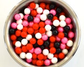 Be Mine Pink/Red/Black and White Pearl Candy Beads- Edible Cupcake Decorations (2 ounces)