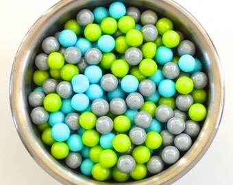 Boys Robot Lime/ Blue and Silver  Pearl Candy Beads- Edible Cupcake Decorations (2 ounces)