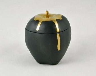 Apple Trinket Box with 14k Gold Drip - Black