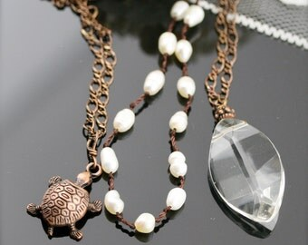A day at the beach necklaces - freshwater pearl