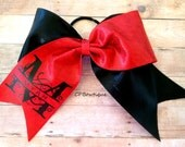 "Red and Black Split Initial Personalized 3"" Cheer Bow - Made to Order"