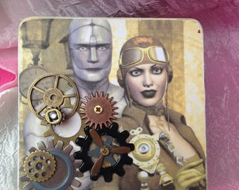 Steampunk Wood Box, Steam punk, Ring Bearer Pillow, Gift Box, Jewelry Box, Travel Case, Trinket Box