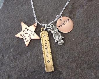 Mixed metal graduation necklace silver copper brass celebration jewelry 2014 custom