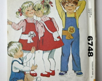 Vintage 1970s, Sewing Pattern, McCall's 6748, Toddler's Jumpsuit, Jumper and Appliques, Toddler's Size 1/2