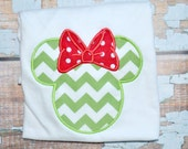 Green and red Chevron Minnie Mouse Shirt - Disney Trips, and for the Love of Minnie--Free Personalization