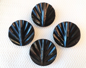 Art Deco Leaves Antique Glass Button - Single Large Black Vintage for Coat Jacket Jewelry Supplies Beads Sewing Knitting 1.25 inch