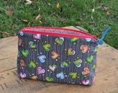 Kid's bag:  Playful, colorful hearts, cotton fabric bag.  Snack bag, toy bag, fun anytime.