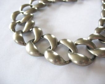Curb Chain Necklace Silvertone 1980's Chunky Classic Large Links