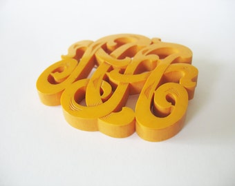 Bakelite Brooch, Carved Initials, AA, Monogram, Butterscotch, 1930s, Unique, Vintage Plastics, Golden Yellow, Scrolled Letters, Collectible