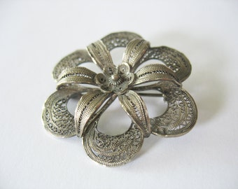 Filigree Flower Brooch Cannetille Sterling Silver 1950's