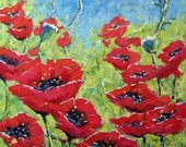 Red Poppies Large Original Painting by Prankearts
