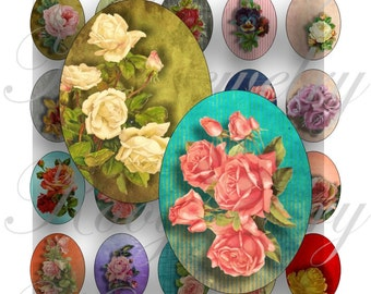 Vintage flowers 40x30mm oval images for charms, pendant, buttons, scrapbook and more Vintage Digital Collage Sheet No.1450
