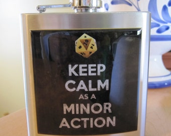 Dungeons & Dragons Keep Calm as a Minor Action Liquor Hip Flask