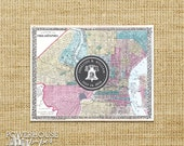 Philadelphia Antique Map Post Card Save the Date