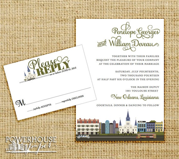 New Orleans Skyline Wedding Invitation