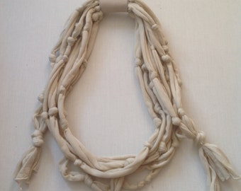 Long and Chunky Silk Cotton Jersey Knotted Fabric Necklace in Bone