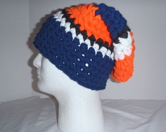 Super thick striped slouch hat  - orange, navy blue, black and white - Super warm and comfortable