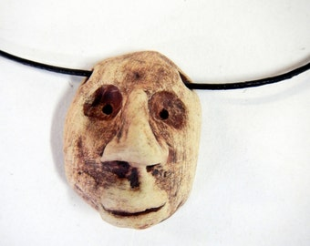 Sale!  Goofy Face stoneware Pendant Necklace