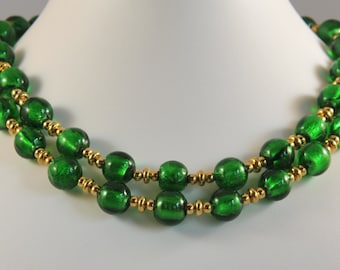 Emerald Green Murano Glass Necklace