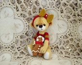 Artist Thread Crochet Teddy Bear miniature Crocheted OOAK with Cookie Doll RESERVED for Pat