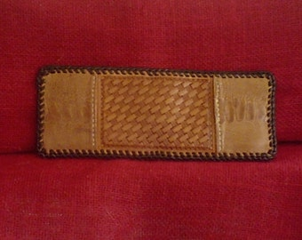 HANDMADE OSTRICH HIDE Bi-fold in Cognac