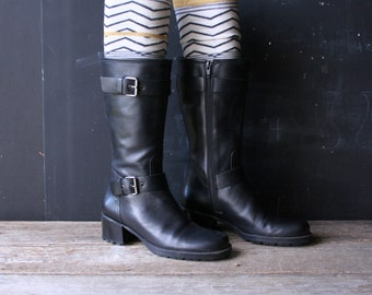 Tall Black Leather Boots Double Buckles Made in Brazil Size 6 M From Nowvintage on Etsy