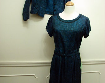Vintage 1950s NWT Two Piece Blue Print Wiggle Dress by Berkshire Size 14 Petite