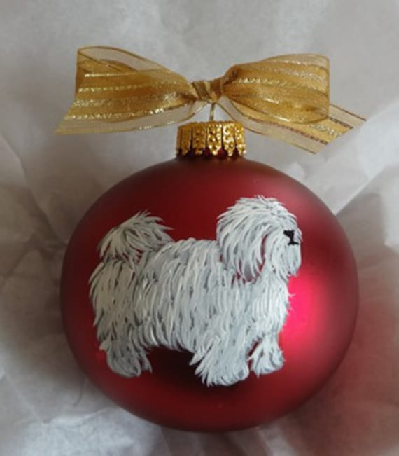Coton de Tulear Dog Hand Painted Christmas Ornament - Can Be Personalized with Name